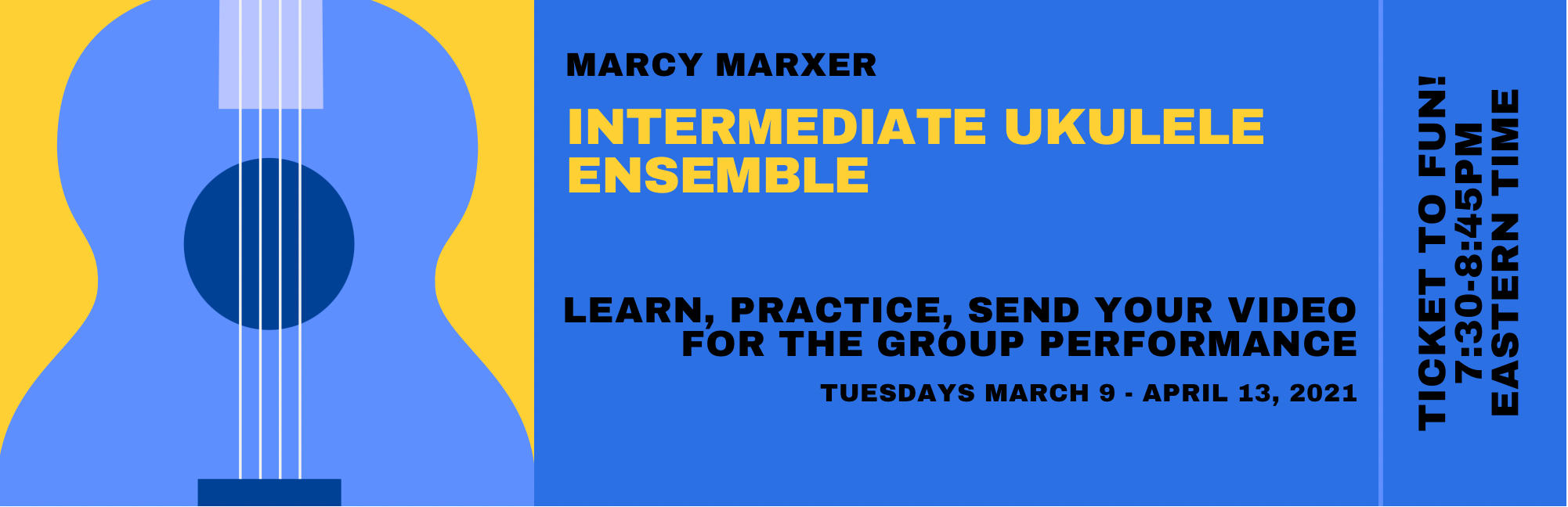 Intermediate Ukulele Ensemble with Marcy @ ZOOM ONLINE